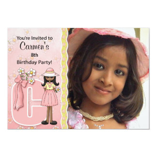 """Age & Name Specific """"C"""" Birthday Party (Ethnic) 5"""" X 7"""" Invitation Card"""
