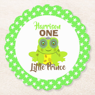 Age One 1st Birthday One Little Prince Cute Paper Coaster