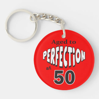 Age to Perfection at 50 | 50th Birthday Double-Sided Round Acrylic Key Ring