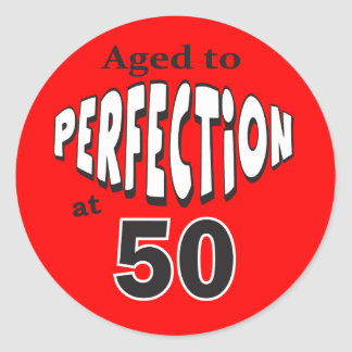 Age to Perfection at 50 | 50th Birthday Round Sticker