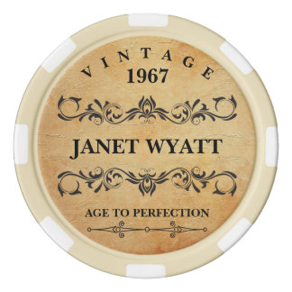 Age to Perfection Vintage Birthday Poker Chip Set