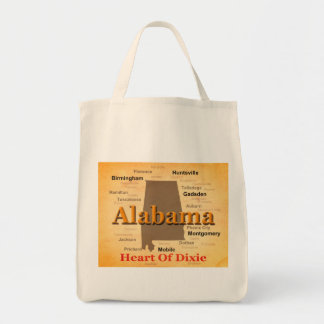 Aged Alabama State Pride Map Silhouette Tote Bag