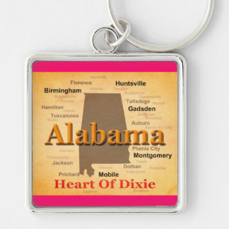 Aged Alabama State Pride Map Silhouette Keychains