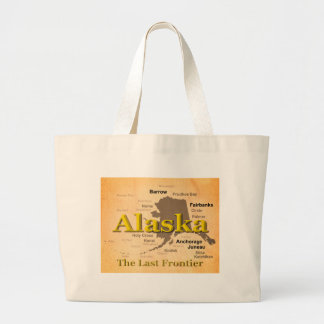 Aged Alaska State Pride Map Silhouette Tote Bag