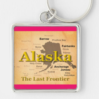 Aged Alaska State Pride Map Silhouette Keychain