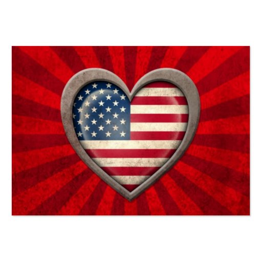 Aged American Flag Heart with Light Rays Business Cards