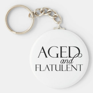 Aged and Flatulent Basic Round Button Key Ring