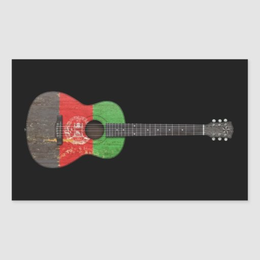 Aged and Worn Afghan Flag Acoustic Guitar, black Stickers
