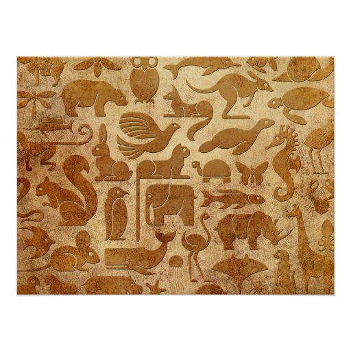Aged and Worn Animal Kingdom Pattern Poster