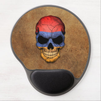 Aged and Worn Armenian Flag Skull Gel Mouse Pad