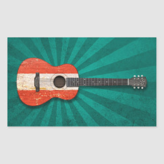 Aged and Worn Austrian Flag Acoustic Guitar, teal Rectangular Sticker