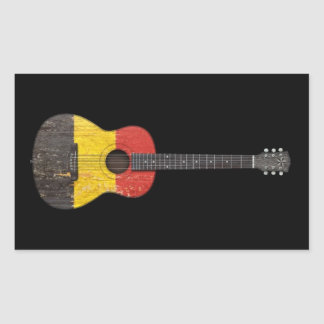 Aged and Worn Belgian Flag Acoustic Guitar, black Rectangular Stickers