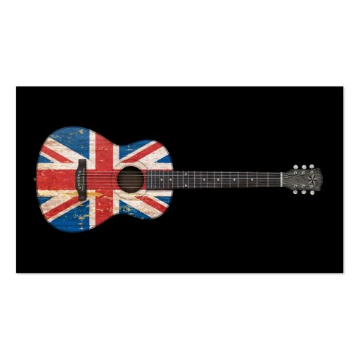 Aged and Worn British Flag Acoustic Guitar, black Business Card Template
