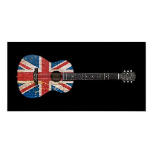 Aged and Worn British Flag Acoustic Guitar, black Posters