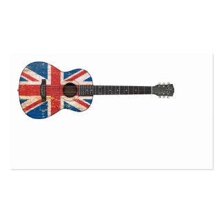 Aged and Worn British Flag Acoustic Guitar Business Card Template