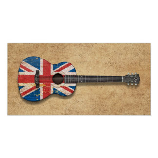 Aged and Worn British Flag Acoustic Guitar Poster