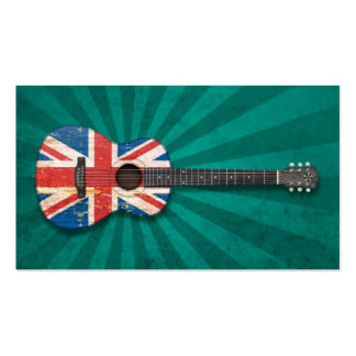 Aged and Worn British Flag Acoustic Guitar, teal Business Card Templates