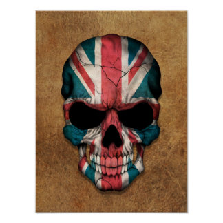 Aged and Worn British Flag Skull Posters