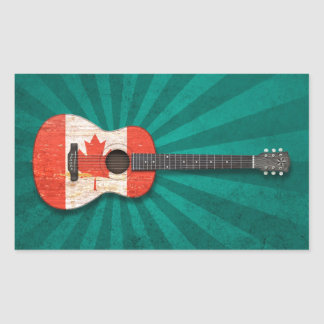 Aged and Worn Canadian Flag Acoustic Guitar, teal Rectangular Stickers