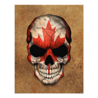 Aged and Worn Canadian Flag Skull Personalized Invite