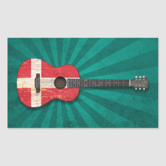 Aged and Worn Danish Flag Acoustic Guitar, teal Stickers