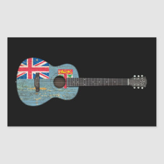 Aged and Worn Fiji Flag Acoustic Guitar, black Rectangle Stickers