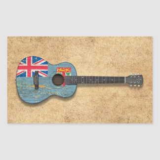 Aged and Worn Fiji Flag Acoustic Guitar Sticker