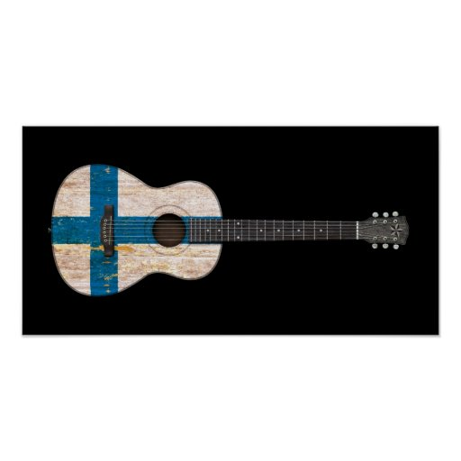 Aged and Worn Finnish Flag Acoustic Guitar, black Print