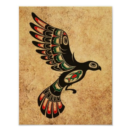 Aged and Worn Flying Haida Spirit Bird Poster