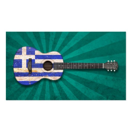 Aged and Worn Greek Flag Acoustic Guitar, teal Business Card