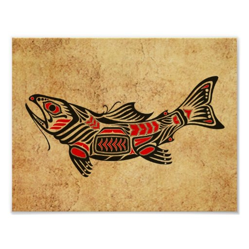 Aged and Worn Haida Spirit Fish on Black Poster