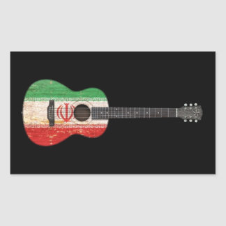 Aged and Worn Iranian Flag Acoustic Guitar, black Rectangle Sticker