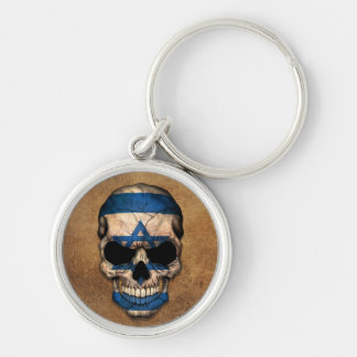 Aged and Worn Israeli Flag Skull Silver-Colored Round Key Ring