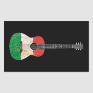 Aged and Worn Italian Flag Acoustic Guitar, black Sticker