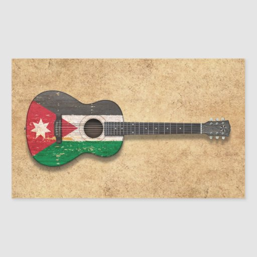 Aged and Worn Jordanian Flag Acoustic Guitar Rectangle Stickers