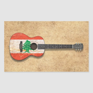 Aged and Worn Lebanese Flag Acoustic Guitar Sticker