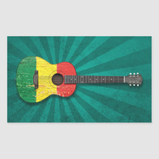 Aged and Worn Mali Flag Acoustic Guitar, teal Sticker