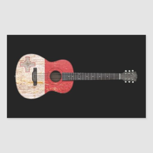Aged and Worn Maltese Flag Acoustic Guitar, black Stickers