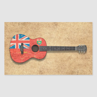 Aged and Worn Manitoba Flag Acoustic Guitar Sticker