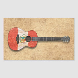 Aged and Worn Peruvian Flag Acoustic Guitar Stickers