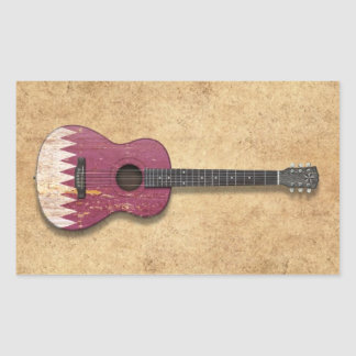 Aged and Worn Qatar Flag Acoustic Guitar Stickers