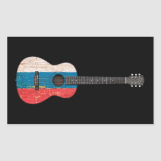 Aged and Worn Russian Flag Acoustic Guitar, black Rectangle Stickers