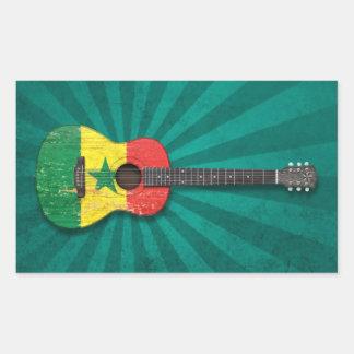 Aged and Worn Senegal Flag Acoustic Guitar teal Rectangular Sticker