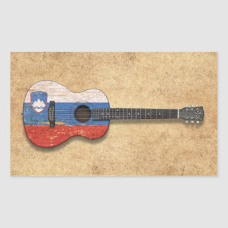 Aged and Worn Slovenian Flag Acoustic Guitar Rectangle Stickers