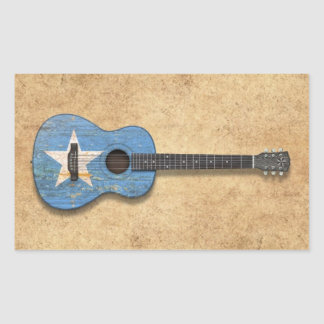Aged and Worn Somali Flag Acoustic Guitar Rectangle Sticker