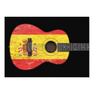 Aged and Worn Spanish Flag Acoustic Guitar, black Cards