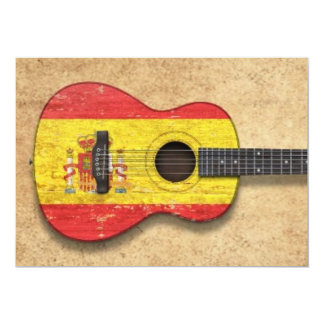 Aged and Worn Spanish Flag Acoustic Guitar Personalized Invites