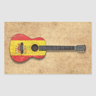 Aged and Worn Spanish Flag Acoustic Guitar Rectangular Stickers