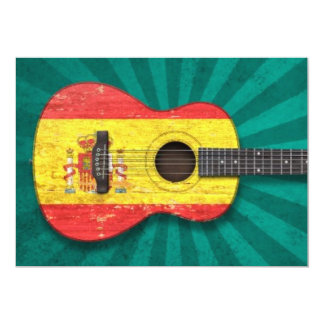 Aged and Worn Spanish Flag Acoustic Guitar, teal Personalized Invitations
