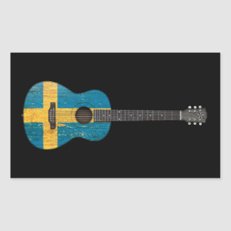 Aged and Worn Swedish Flag Acoustic Guitar, black Rectangle Stickers